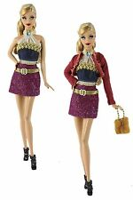 5in1 Set Fashion Clothes/Outfit Coat+Vest+Skirt+Bag+Shoe For Barbie Doll