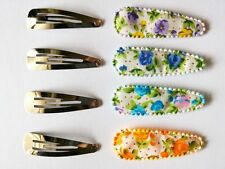 24 set   Mix color  flower with dot hair clip cover & metal Hair snap clip set