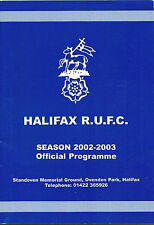 PROGRAMME - HALIFAX RUGBY UNION v WORCESTER POWERGEN CUP 5 30 NOVEMBER 2002