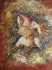 abstract brown horses large oil painting canvas modern art contemporary original