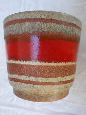West German Pottery  planter red white and brown stripes