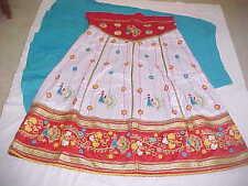 NEW WHITE Gold DAZZLING Skirt 16 PEACOCK LENGHA Sari BALLROOM BELLY Dance GHAGRA