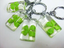 Wholesale lots 30pc Real greenFour Leaf Clover Magic Lucky Keychains free ship