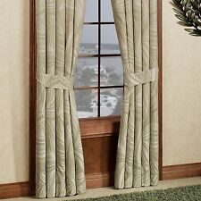 "Tommy Bahama Montauk Drifter Window Curtain 84X84"" Green Ivory Floral Palm Leaf"