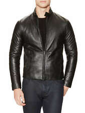 New Armani Collezioni Men's Black Leather Motorcycle Jacket 38 48 S M Lamb Moto