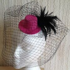 black veiling feather pink mini top hat fascinator millinery wedding party race