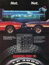 1987 General Tire XP2000 Radials Print Ad w/ Ford Mustang GT 350 at Diner
