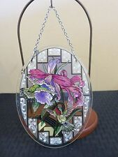 "Amia Stained Glass Suncatcher Medium Oval Hummingbirds & Iris 41396 7"" x 5.5"