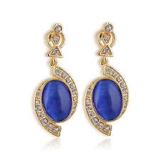 1 Pair Lucury Lady Blue Crystal Rhinestone Teardrop Dangle Earrings Stud Jewelry