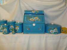 GREAT OLD BLUE 8 PIECE RANSBURG  METAL KITCHEN CANISTER BREADBOX DISPENSER SET