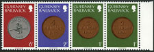 Guernsey 178a strip/4, MNH. Coins: 2 doubles, 4 doubles, new 5 pence, 1979