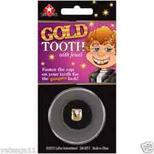 Fake Gold Tooth With Jewel Prank Joke Halloween Accessory New