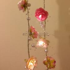 2m 20 LED Pink Rose Flower Fairy String Lights Wedding Garden Decor Lighting