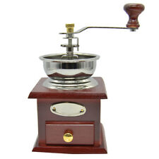 Vintage Manual Hand Crank Wooden Metal Herb Burr Mill Spice Coffee Grinder Retro