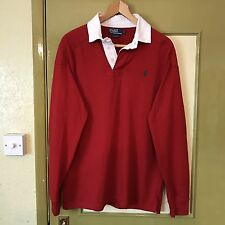 Ralph Lauren Polo Rugby Sweater / Jumper / Red White / Custom Fit / Large