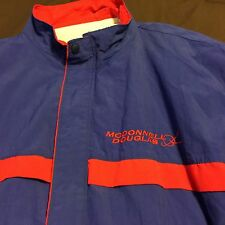 Vtg 80's 90's Mcdonnell Douglas Embroidered Nylon Blue Red Jacket Lined USA Sz L
