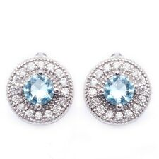 Ocean Blue White Round Cubic Zircon White Gold Plated Ear Stud Hoop Earrings