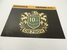 NOS 1979 10th Anniversary Limited Edition CB750K CB750 Honda Dealer Brochure L31
