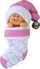 PINK BABY IN CHRISTMAS STOCKING ORNAMENT CHRISTMAS TREE DECORATION GIFT NEW