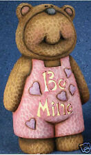 "Ceramic Bisque Ready to Paint Huggs Bear ""Be Mine"" clipin inc"