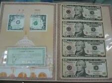USA $10 Uncut Banknote 4-in-1 in folder with certificate (UNC)  十美元 4连体整版钞