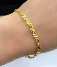 24K Solid Yellow Gold Cute Shiny Bracelet. 7 Inches, 7.04 Grams