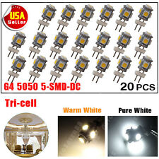 20 X Warm White G4 5 SMD LED 5050 DC 12V RV Marine Boat Camper Light Bulb Lamps