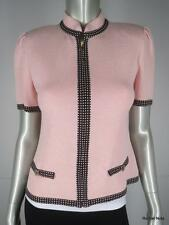ST JOHN 2 Short Puff Sleeve White Polka Dot Paillettes Pink Brown Knit Jacket