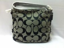 NWT COACH 24CM SIGNATURE C DUFFLE CROSSBODY BAG SILVER/BLACK F15067 $328