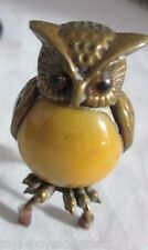 BRASS OWL TAPE MEASURE;Antique FIGURAL, CELLULOID mustard color EGG Body,NOVELTY