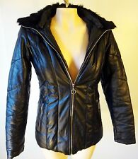 Puffy Leather jacket fur collar hood medium removable fitted ski m black Gothic