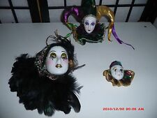 3 SMALL PORCELAIN DOLL FACE MARDI GRAS, JESTER, MASK, WALL
