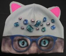 NEW Justice Girls Cat Critter Beanie hat w/ glasses green pink sparkly ears NWT
