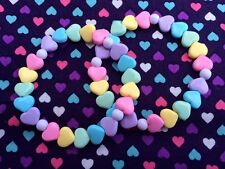 2 x Cute Rainbow Heart Beaded Bracelets...Kawaii / Lolita / Fairy Kei