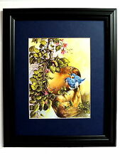 BLUEBIRD PICTURE WATER BUCKET FLOWERS MATTED  FRAMED 11X14