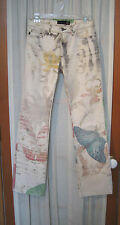 Just Cavalli ROBERTO CAVALLI Beige Cotton Butterfly Print Distressed Jeans Sz 41