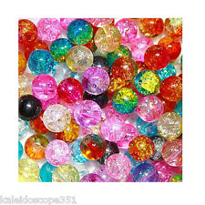 8MM CRACKLE GLASS BEAD MIX 100 BEADS 15 COLOR PACKAGE