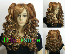 Brown mixed color long curly cosplay wig + two pigtails Tiger clip wig NO:120