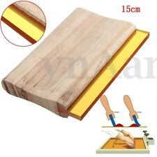 "6"" 15cm Silk Screen Printing Wooden Squeegee Scratch Blade Rubber Ink Scaper Set"