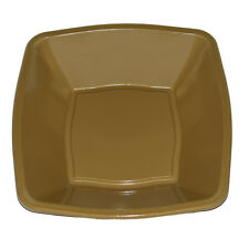 "30 x Christmas Tableware 7""/18cm Gold Square Soup Bowls Disposable Plastic"