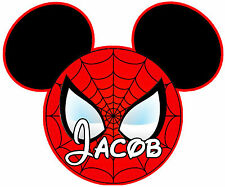 DISNEY MICKEY MOUSE SPIDERMAN PERSONALIZED SHIRT IRON ON CUSTOMIZED TRANSFER 056