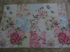 Oriental flowers butterfly bird leaves craft sewing remnant fabric piece