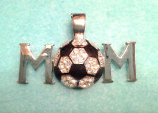 """CONTEMPORARY SOCCER BALL & WORD MOM CLEAR RHINESTONES 2.25"""" MAGNETIC PENDANT"""