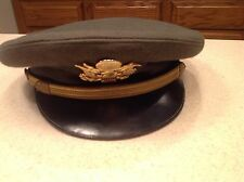 Military Hat Gerber Officer Captain Worn US Army Visor Hat Green Size 6 3/4