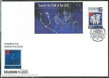 SOLOMON ISLANDS 2014  LUNAR NEW YEAR OF THE GOAT SOUVENIR SHEET FIRST DAY COVER