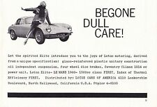 1960 LOTUS ELITE  ~  CLASSIC ORIGINAL SMALLER PRINT AD