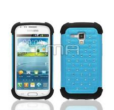 Light Blue Rhinestone Bling Impact Case For Samsung Galaxy Ace 2 II-X GT-S7560M