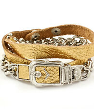 LUSH Celebrity Statement Leather Gold Faux Watch Wrap Bracelet Rocks Boutique