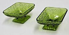 Vintage Pair of Green Diamond Shaped Carnival Glass Pressed Raised Candy Dish