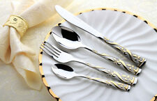 24 Piece Gold Stainless Steel Cutlery Set Knife Fork Spoon Teaspoon Royal Family